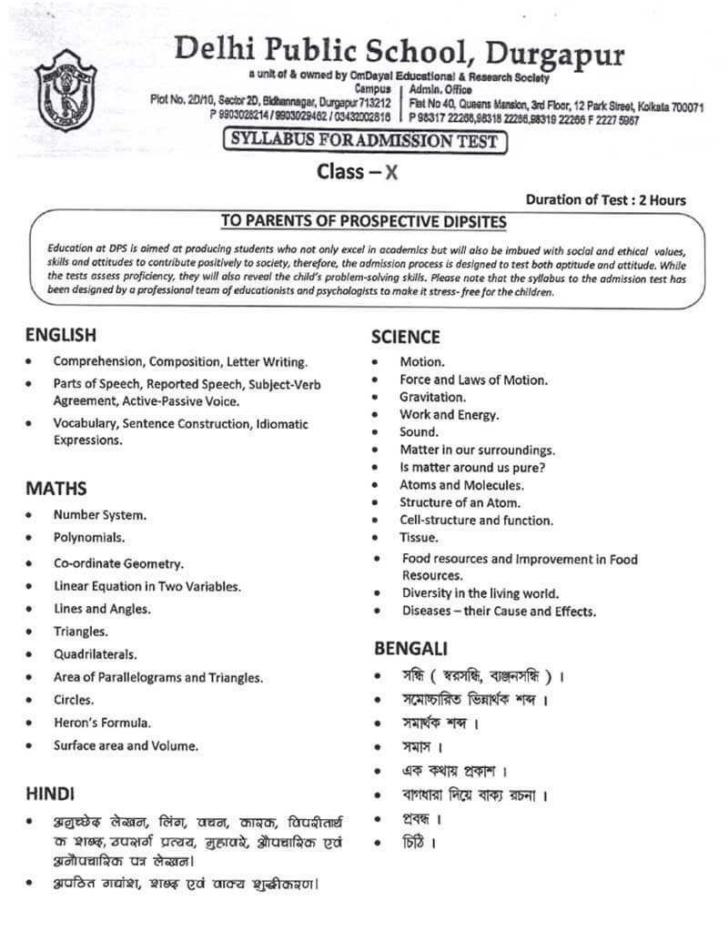 Syllabus for Admission Test, Class XI, 2021-22