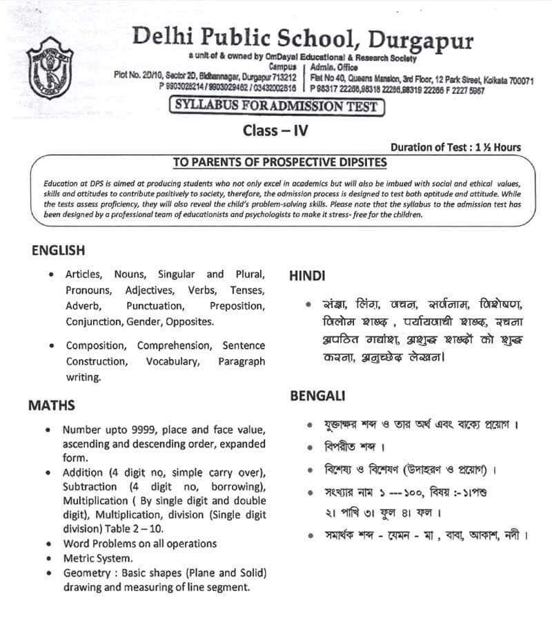 Syllabus for Admission Test, Class IV, 2021-22