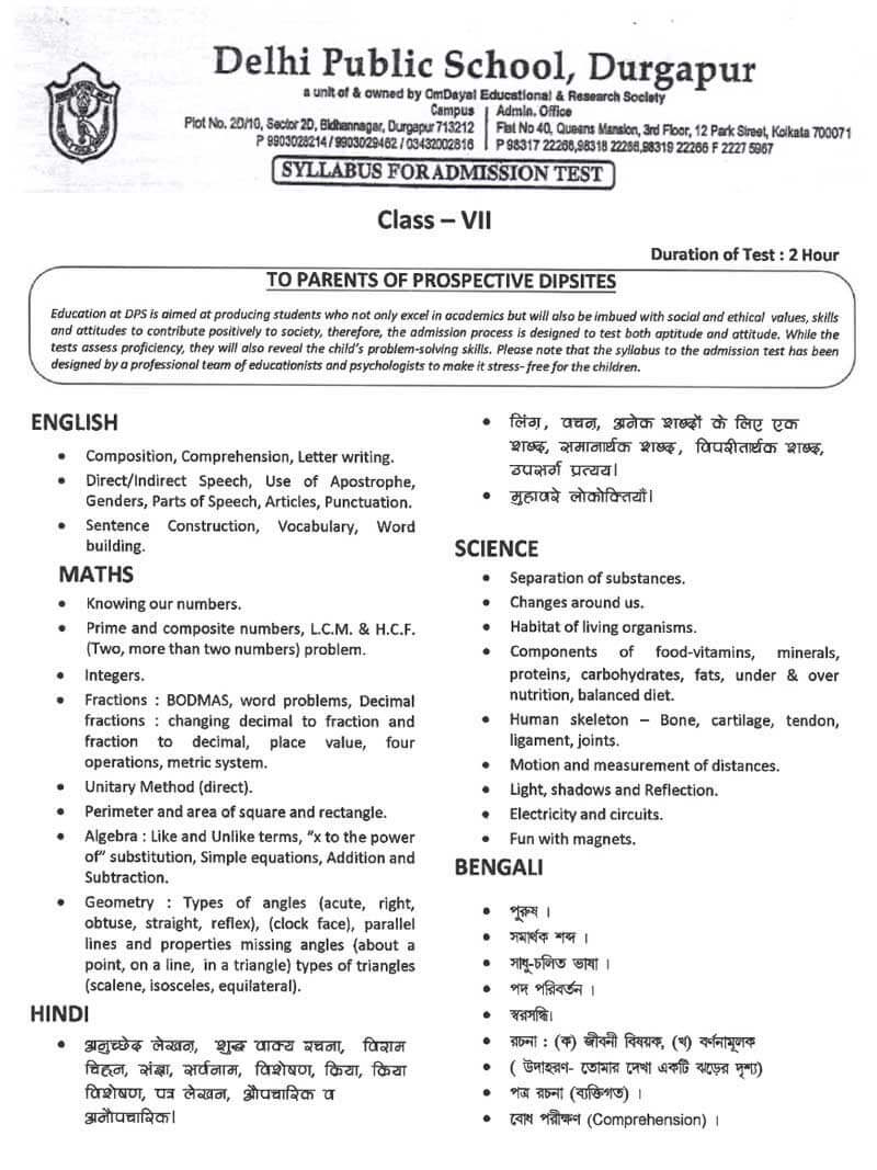 Syllabus for Admission Test, Class VII, 2021-22