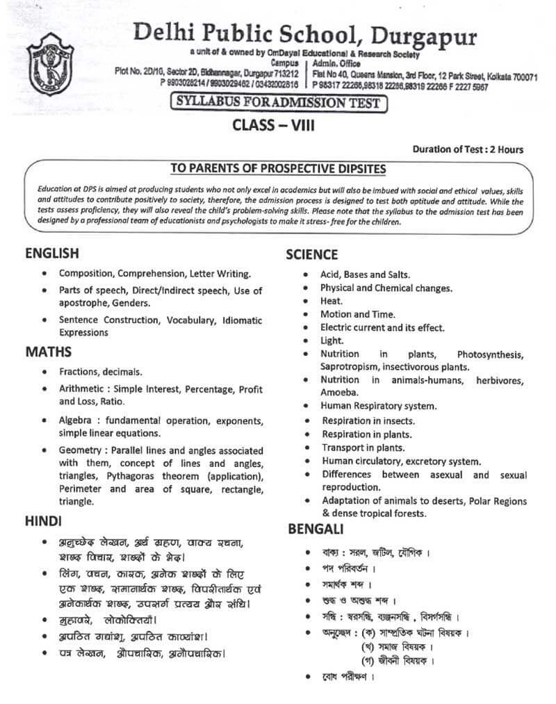 Syllabus for Admission Test, Class VIII, 2021-22