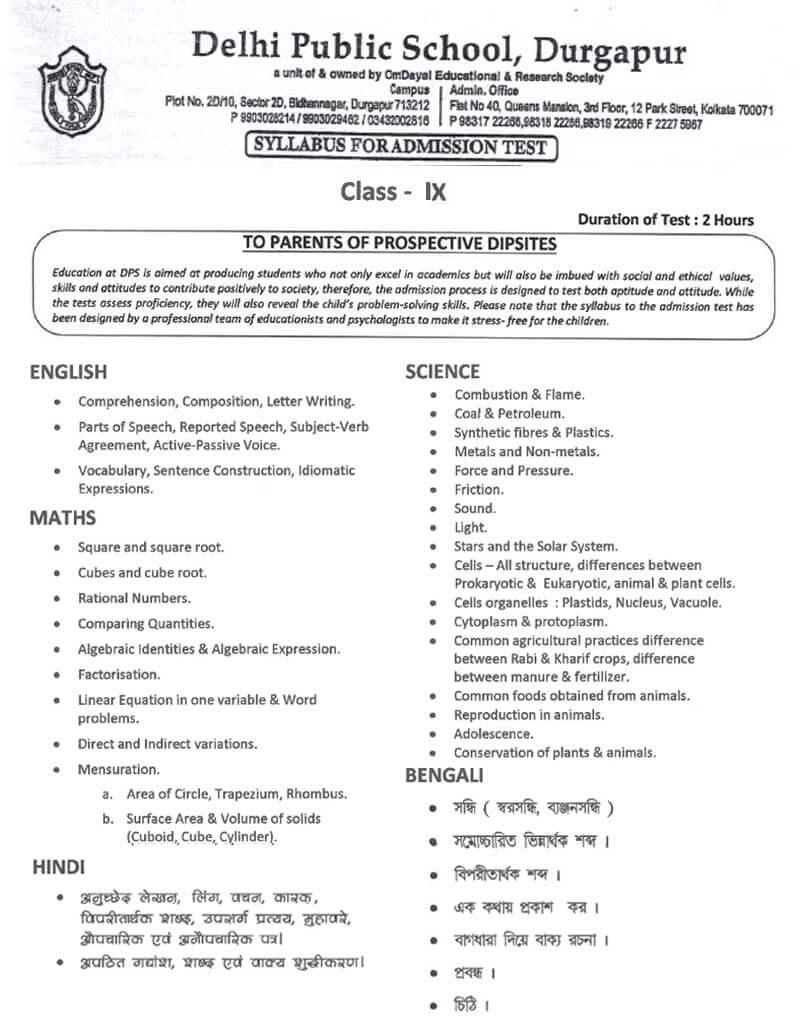 Syllabus for Admission Test, Class IX, 2021-22